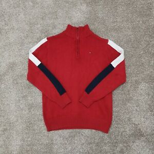 Tommy Hilfiger Red Quarter Zip Mock Neck Jumper Sweater Medium 12-14