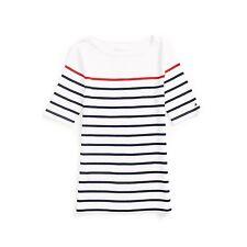 New Tommy Hilfiger Womens Cotton Stripe T Shirt Medium White & Navy & Red