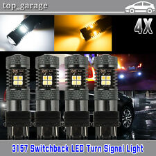 4x 3157 P27/5W T25 Switchback White/Amber 16LED Car DRL Turn Signal Light Bulbs