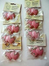 DOUBLE HEART 2'' RESIN FLATBACK NEW LOT OF 8 PC MAUVE PINK LOVE VALENTINE CRAFT