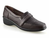 Ladies Womens Mid Wedge Heel Leather Smart Slip On Casual Work Pumps Shoes Size