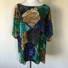 Sequince Top Multicolored Short Sleeve. Fully Lined. Beautiful