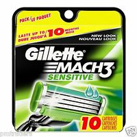Gillette Mach3 Sensitive Power Razor Blades - (Pack of 10) 100% Genuine