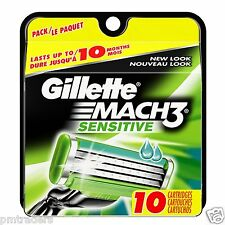 Gillette Mach 3 Sensible Power-Cuchillas de afeitar (paquete de 10) 100% Genuino