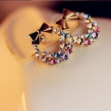 Elegant Fashion Women Chic Bowknot Crystal Rhinestone Flower Ear Stud Earrings