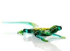 Lizard Glass Figurine, Blown Glass Art, Green and Yellow Reptile Miniature