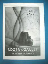 PUBLICITE DE PRESSE ROGER & GALLET PARFUM EAU DE COLOGNE JADE J.-M. FARINA 1929