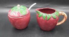 Figural Strawberry Creamer  and Sugar Bowl Set