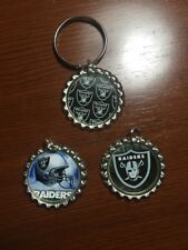 NFL Oakland Raiders Bottle Cap Key chains, and/or necklaces HANDMADE - set of 3