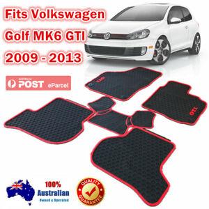 Red Rubber Car Floor Mats Tailor Made VW Volkswagen Golf MK6 GTI 2009 - 2013