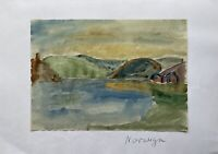 Impressionist Watercolour Coastal Landscape IN Norway Evening Mood At Fjord
