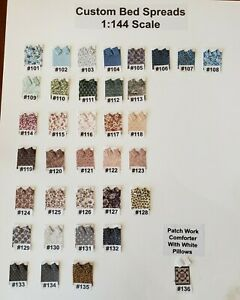Dollhouse Miniature 1:144 NEW BEDROOM DESIGN CENTER, PICK YOUR CHOICE OF FABRIC