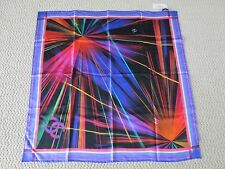 NWT Authentic Chanel Data Center Laser Beam Print Purple Logo Square Silk Scarf