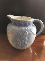 Extremely Rare Daisy Blue and White Salt Glazed Stoneware Pitcher