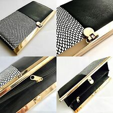 """Ladies Dorothy Perkins 8""""/20cm Leather Purse (Gold Plated Clasp + Compartments)"""