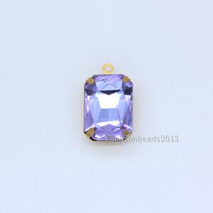 30p 10x14mm rectangle Framed glass Pendant Earring belt dress making charm beads