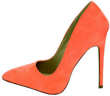 High Heel Pointed Toe 5.12in Stiletto Neon Coral Shoes US 10