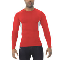 Russell Long Sleeve Compression Shirt Men Moisture Wicking Workout Small Red