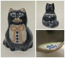 Vintage MA Hadley Hand Painted Blue Ceramic Porcelain Kitten Cat Pink Bow Figure