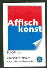 SWEDEN (H546) Scott 2453, 2003 Europa-Poster Art booklet, VF,