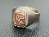 Antique Ancient Near Eastern Sasanian Bronze Men's Engraved Carnelian Ring Sz 11