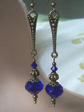 VINTAGE STYLE DANGLE DROP EARRINGS Cobalt Sapphire Royal Blue Deco nouveau