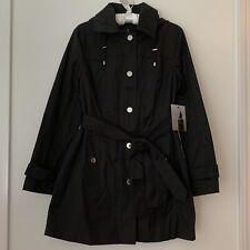 Women's Black London Fog Trench Coat Raincoat Jacket Size Small