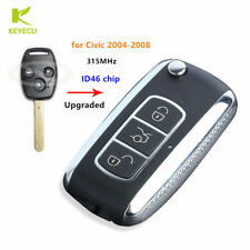 3Buttons Upgraded Flip Remote Key Fob 315MHz ID46 Chip for Honda Civic 2004-2008