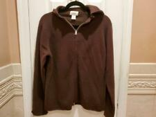 Neiman Marcus Dark Brown Cashmere Zip Cardigan Sweater Hoodie Size Lrge