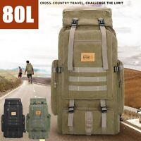 80L Outdoor Military Backpack Hiking Camping Canvas Rucksack Travel Hadnbag Big