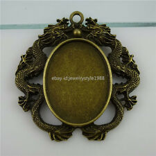 11882 Fit 40*30mm Cameo Large Long Dragon Holder Frame Base Tray Setting Pendant