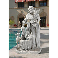"St. Francis' Life Giving Antique Stone Finish Design Toscano 39"" Water Fountain"