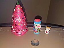 Russian MATRYOSHKA NESTING Doll Christmas Tree Santa Snowman three dolls set