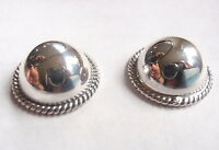 Silver Domes with Rope Style Accents Stud Earrings 925 Sterling Silver