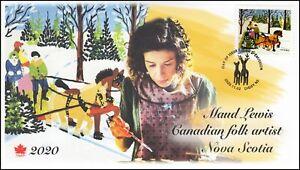 CA20-039, 2020, Maud Lewis, Pictorial Postmark, FDC, Christmas, Folk Art