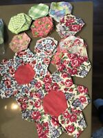 Vintage Lot Of Mixed Partially Sewn Quilt Blocks & Pieces