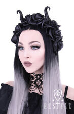 Restyle Diabolical Roses Punk Gothic Rocker Horns Maleficent Cute Girl Headband