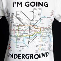 LONDON UK SUBWAY TRAIN MAP UNDERGROUND TUBE LINE White Tee T-Shirt Men's Small