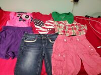 8 piece little girl's summer outfit  Lot size 7 shorts tshirts romper