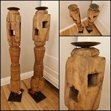 2er Set Massiv Alt Holz Balken Bodensäule Kerzenständer Kerzen Deko Antik