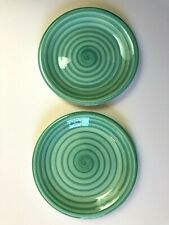 "2 Pier 1 One Imports Dinner Plates 10"" Green Swirl"