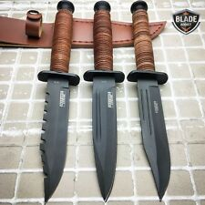 3 PC Tactical Combat Survival Camping Fixed Blade Hunting Knife Bowie + Sheath