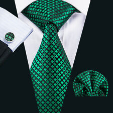 Classic Silk Jacquard Mens Tie Green Checks Necktie Hanky Cufflinks C-1608