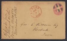 US 1863 CIVIL WAR POSTAL COVER Sc U35 BOSTON MASS NOV 9 IN RED TO IOWA