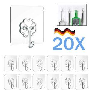 20 X Selbstklebend Haken Wiederverwendbar Transparenter Klebehaken