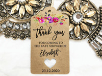 10 Kraft Brown Gift Tags Baby Shower Favour Bomboniere Personalised Thank you