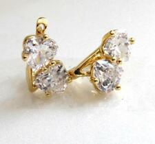 Double Heart CZ Zircon Snap Closure Huggie Women 14K Yellow Gold Plated Earrings
