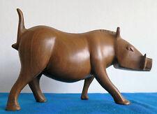 60er Jahre Teak Holz Figur_Warzenschwein_Handarbeit Schnitzkunst_Wildschwein