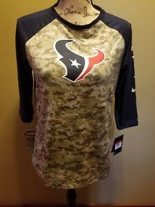 NWT Womens Nike Dry NFL Team Apparel Houston Texans Camo Navy Blue Shirt Top L