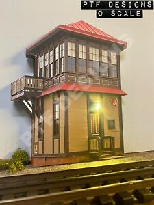 """O Scale """" Strasburg J Tower """" Trackside Building Flats w/LED - Switch Signal MTH"""